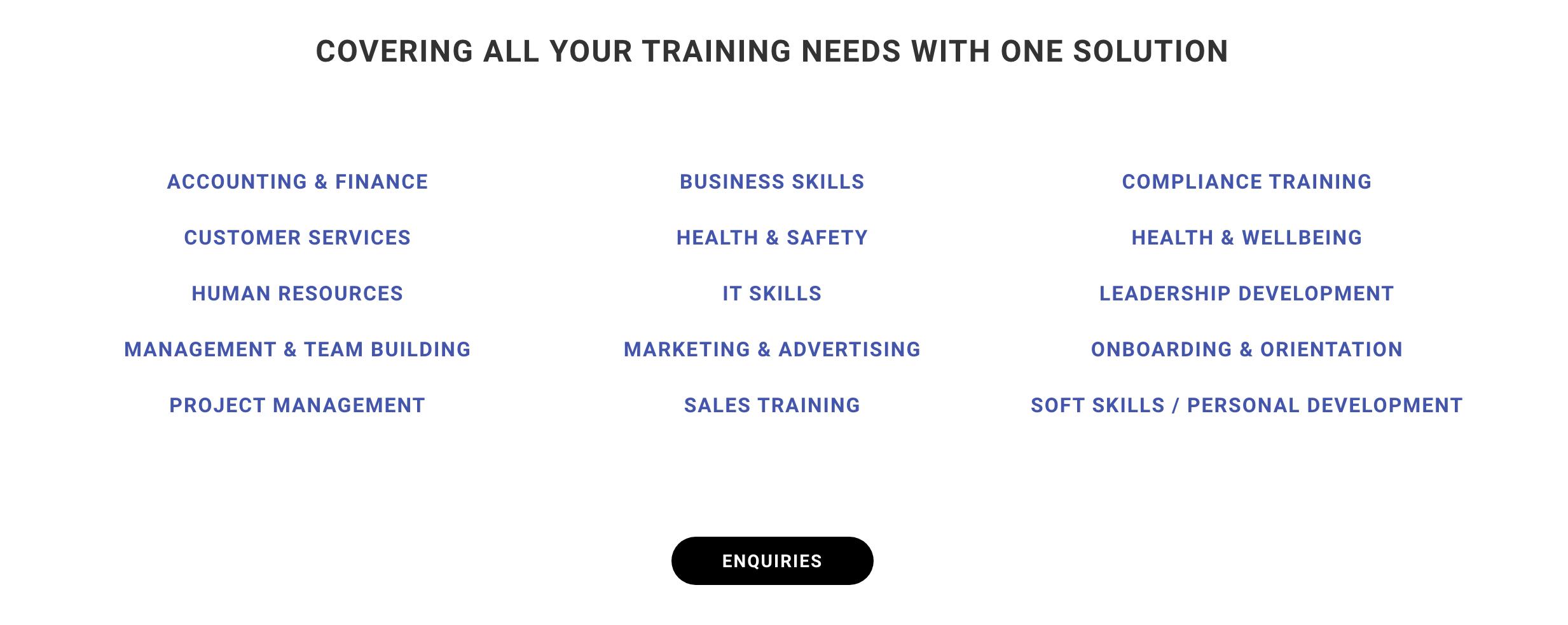Training Categories
